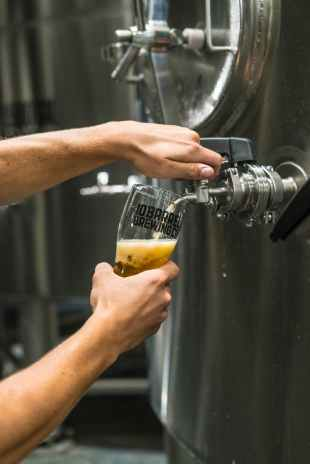 person filling up beer glass from tap machine